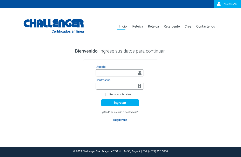 Challenger app certificados