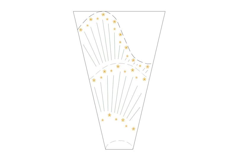empaque para flor lineas y flores